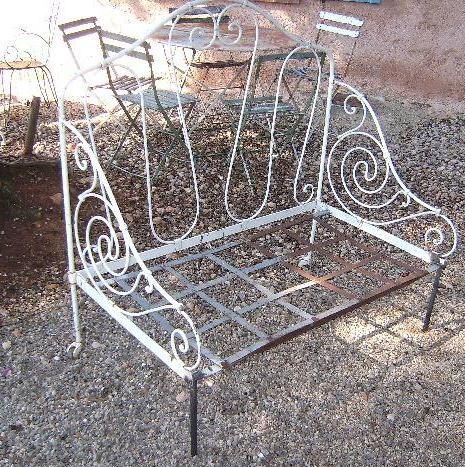 ancien banquette fer forg jardin pliante pliable. Black Bedroom Furniture Sets. Home Design Ideas