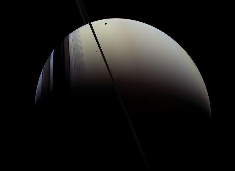 Saturn, Mimas and Tethys by Michael Benson