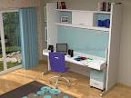 Dormitorios con baldas y cama y mesa de estudios abatibles