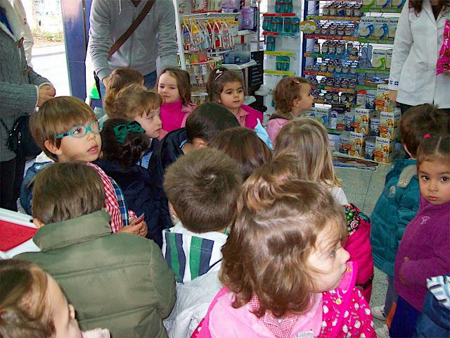 niños visitando tiendas