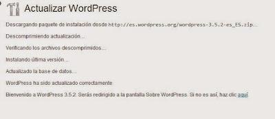 Proceso actualización WordPress a 3.5.2