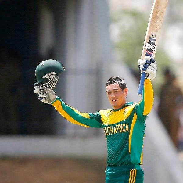 South Africa's Quinton de Kock celebrates his century during their final One Day International cricket match against Sri Lanka in Hambantota July 12, 2014.