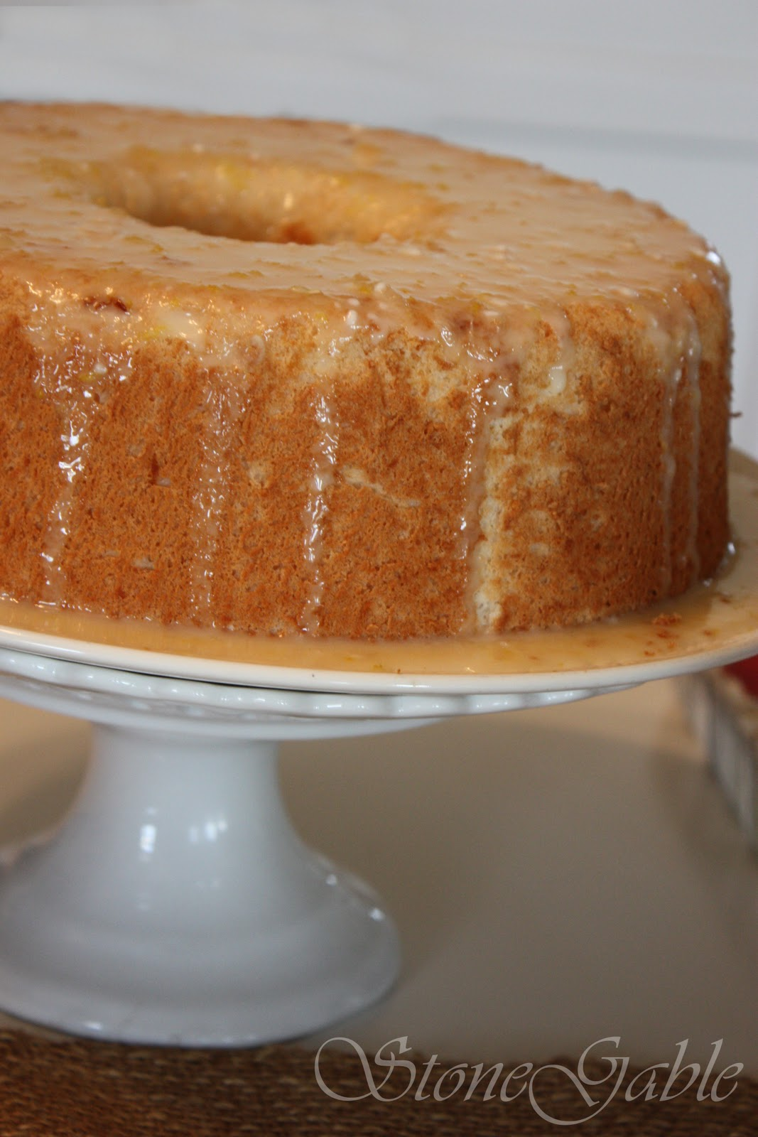 Lemon Angel Food Cake With Lemon Glaze Stonegable