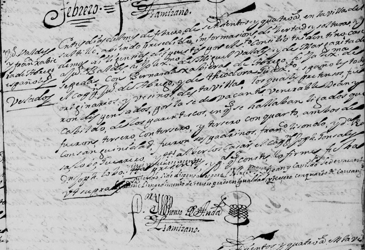 Juan Flores Valdez and Francisca Javiera Abrego, FamilySearch, Coahuila, Saltillo, Matrimonios 1703-1757 Pg 8