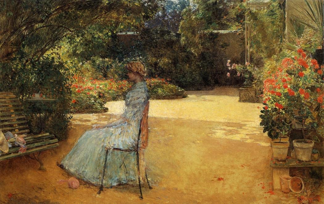 Childe Hassam - The Artist's Wife in a Garden, Villiers-le-Bel