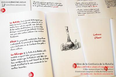 Plecs del Llibre de la Confraria de la Ratafia a Llibres Artesans