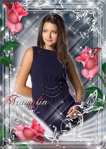 Рамка для Photoshop с розами  – Красная роза, жгучая леди…