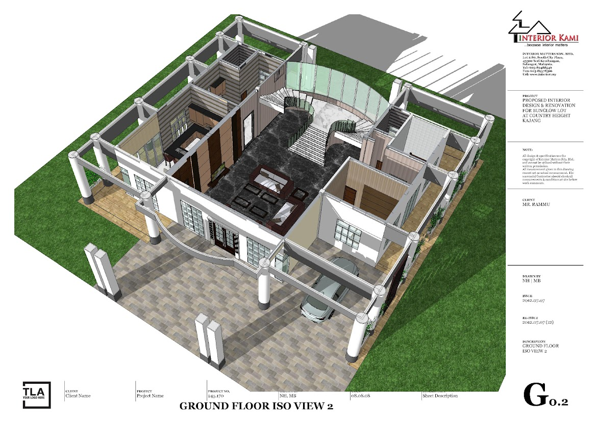 Ground floor 3d layout country height bunglow