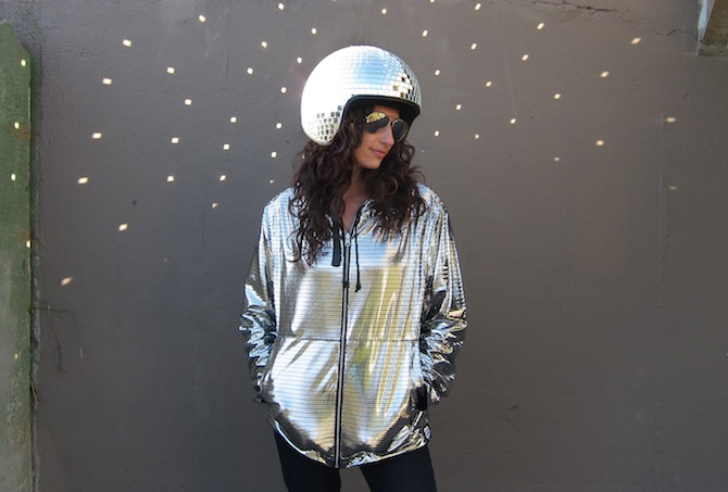 Natalie Walsh in a Disco Helmet and Hoodie