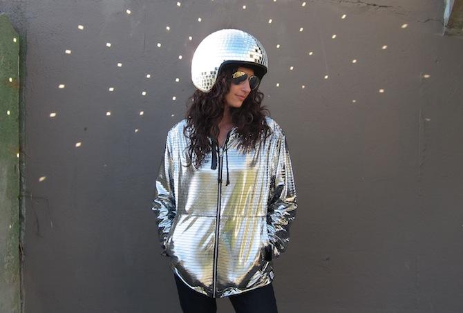 Natalie Walsh in a Disco Helmet and Hoodie