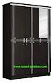 Lemari Pakaian Minimalis Murah 3 Pintu Cermin Black Lotus