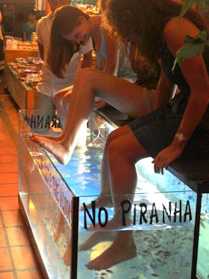 Girls getting fish pedicures in Siem Reap Cambodia