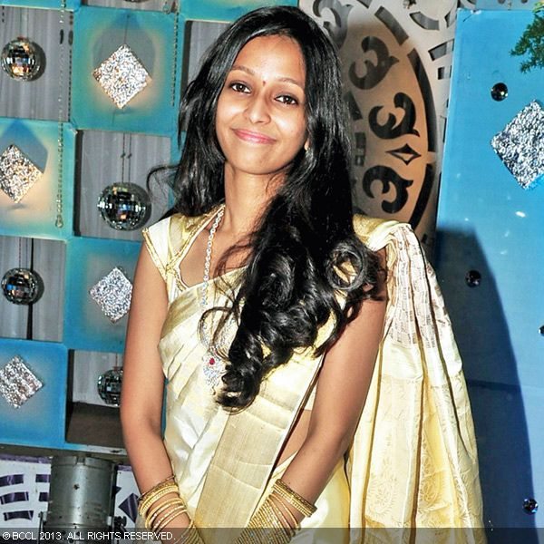 Shailaja smiles for the cameras during the wedding reception party of Naveen and Varsha, held recently in Hyderabad.
