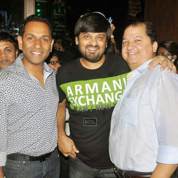 Wajid Khan poses with friends during Ankit Tiwari's live concert, held at Hard Rock Cafe, on July 11, 2014.(Pic: Viral Bhayani)