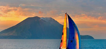 Sailng past Italy's volcanic island chain off Sicily