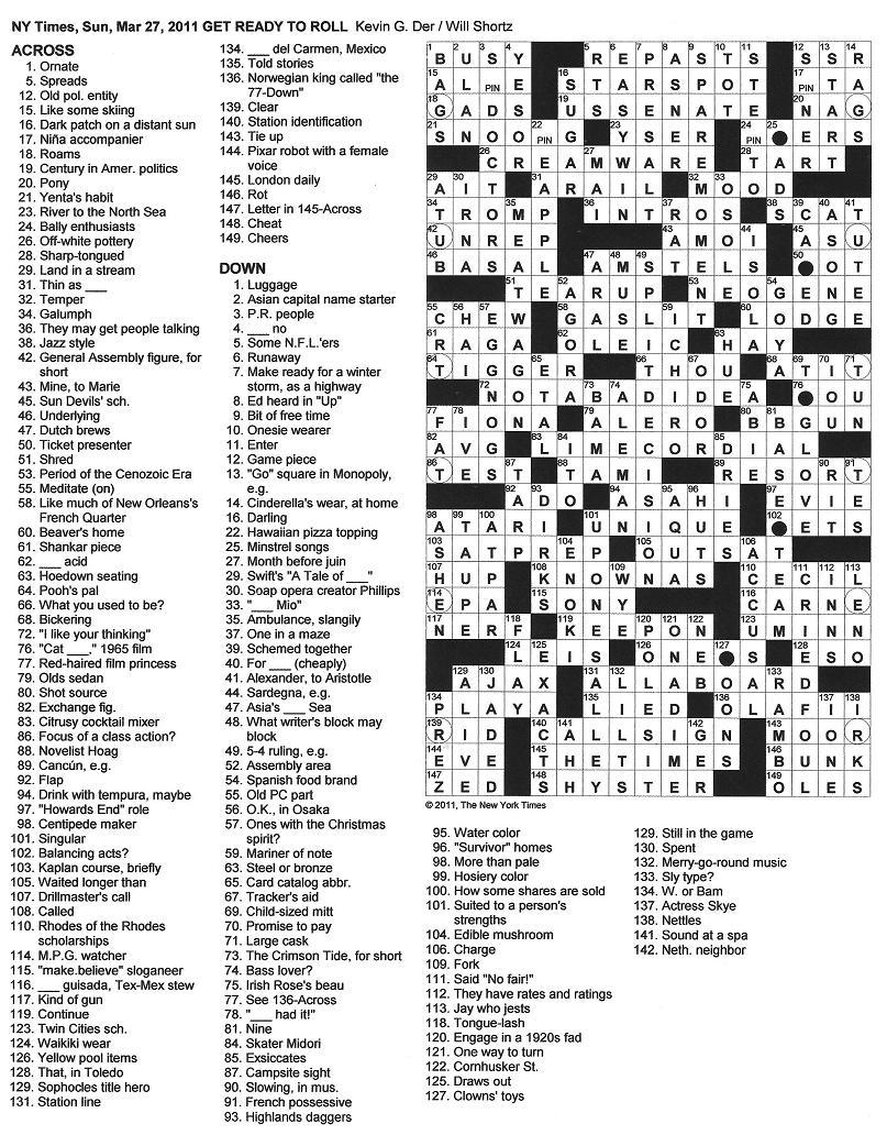 The New York Times Crossword in Gothic: 03.27.11 — Get ...