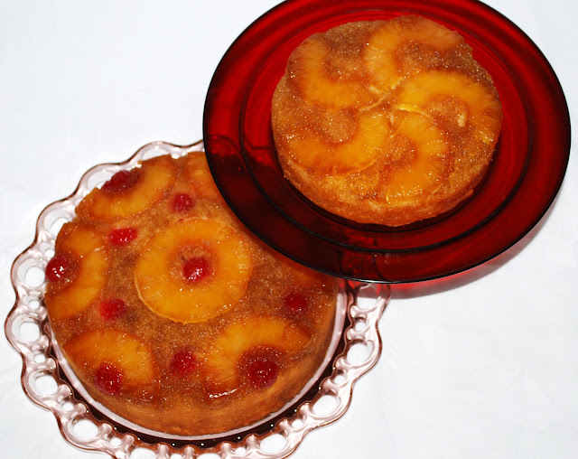 pineapple cherry brown sugar upside down upsidedown cake homemade grandmama grandma recipe depression ware glass plate family