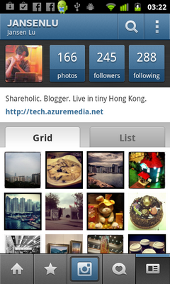 My Profile on Instagram of Android