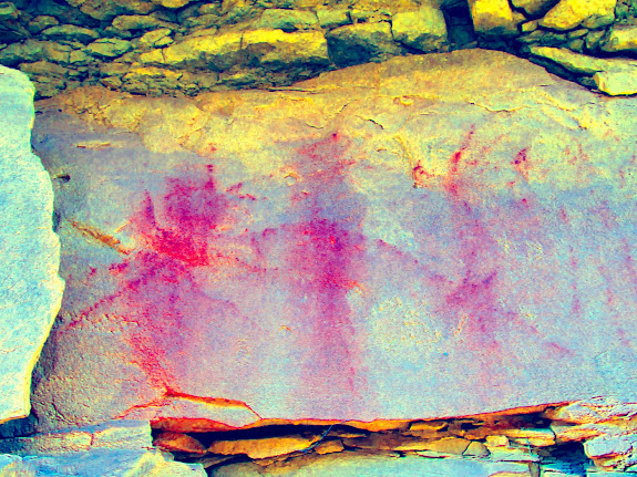 Faded pictographs, DStretch enhanced