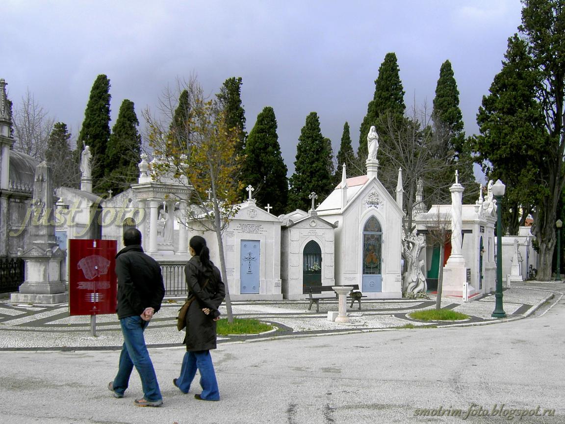 Туристы на кладбище Празереш в Лиссабоне фото
