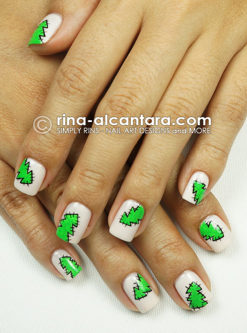 Christmas Tree Patches Nail Art Design