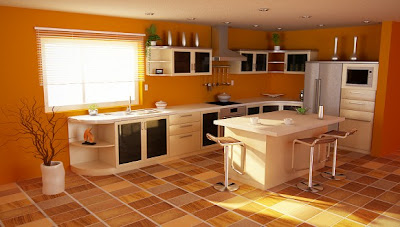 orange themed kitchen 582x330 Tren Warna 2012: Oranye