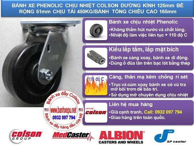 thông số Bánh xe Phenolic chịu nhiệt càng xoay phi 125 Colson caster Mỹ | 4-5109-339