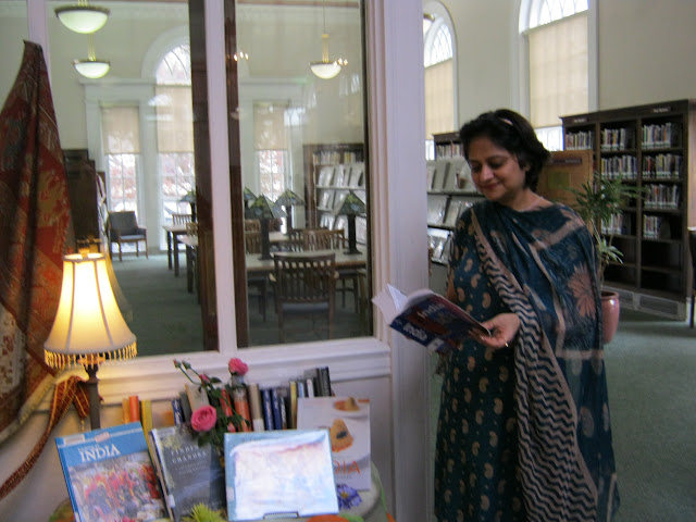 the May India display with staff member Bela Kaul