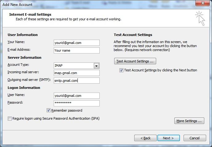 Gmail imap server settings