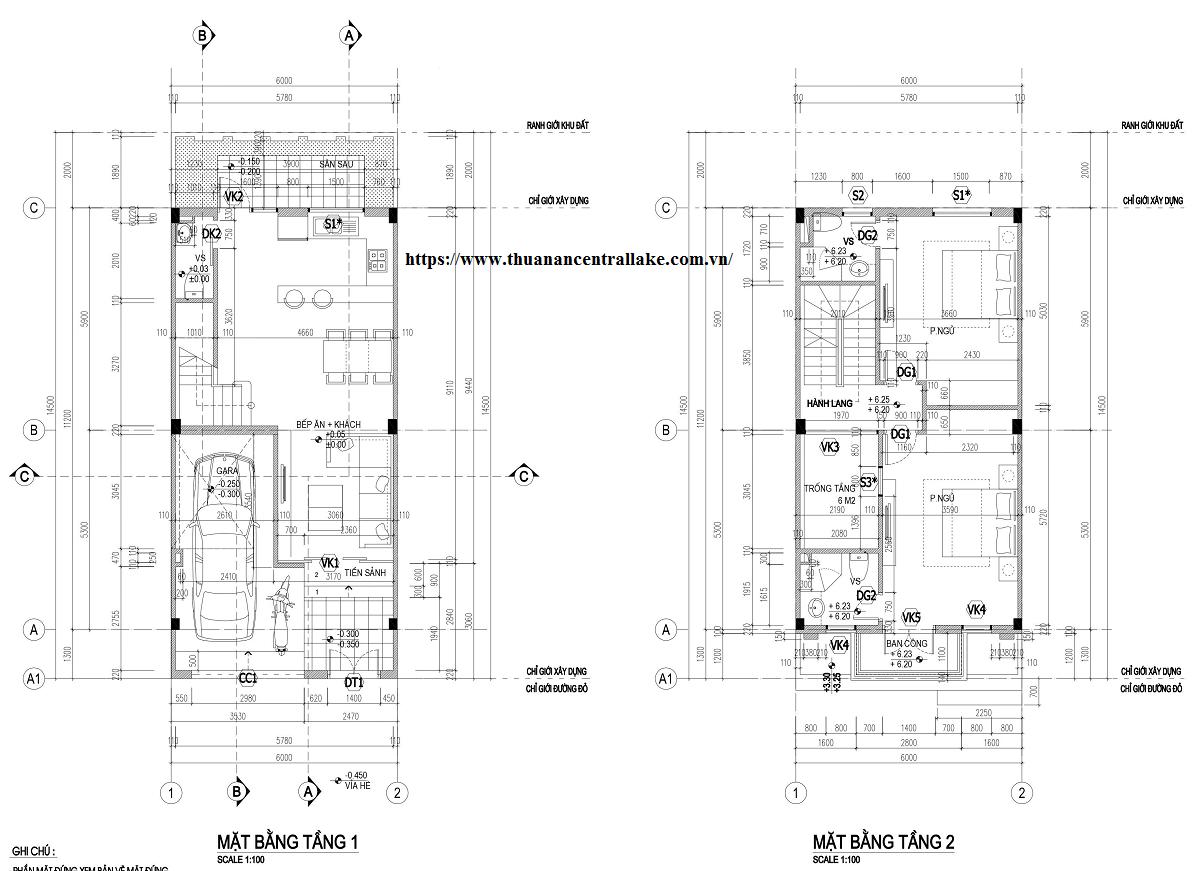Thiết kế điển hình tầng 1 và 2 của 1 lô liền kề.