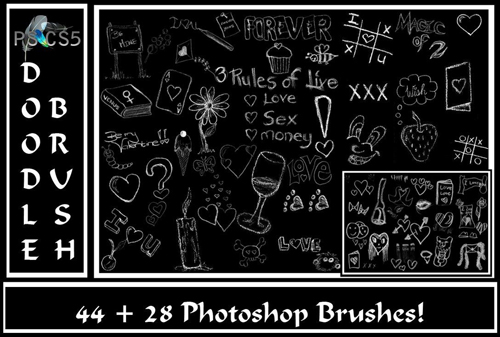 Valentine's Doodle Brush Set.. by Gothic11Shadow