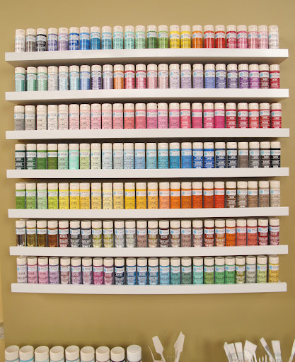 A great way to see all the colors is to display them on shelves. These are RIBBA shelves from Ikea.