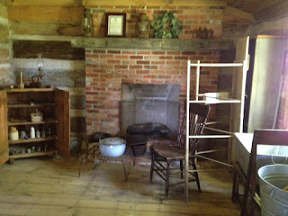 Inside view of the log cabin.