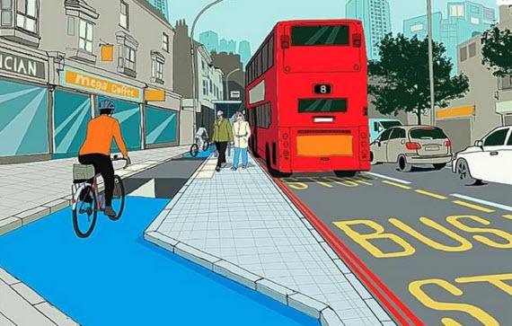 Los carriles bici de Londres invadirán zonas peatonales para evitar paradas de autobús