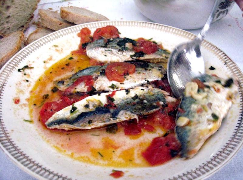 Grilled Sardines in a Light Tomato Wine Sauce (Sardine alla Griglia in Salsa Leggera di Pomodoro e' Vino)