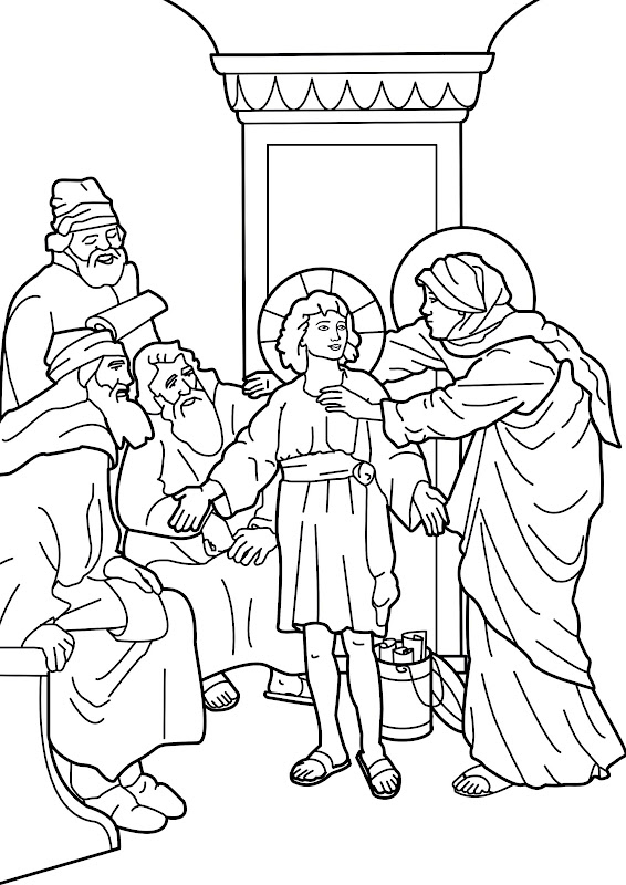 Boy jesus in the temple for Jesus as a boy in the temple coloring page