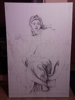 Work in progress at sketch stage. Showing full canvas with half of sketch completed.