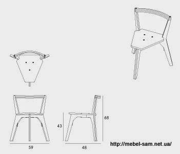 Чертежи и габаритные размеры фанерного стула