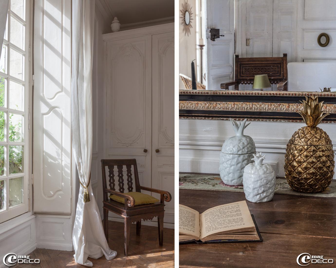 Ananas doré et en porcelaine blanche (porte-glaçons) chinés dans les vides-greniers