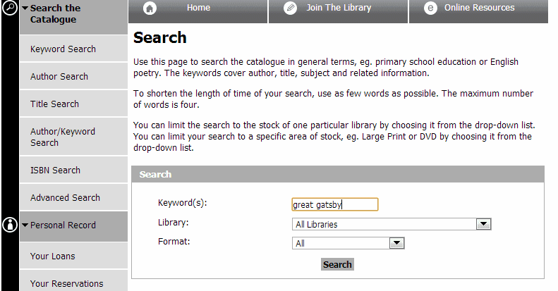 A search on the Manchester library website