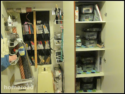 Organized craft storage in a closet