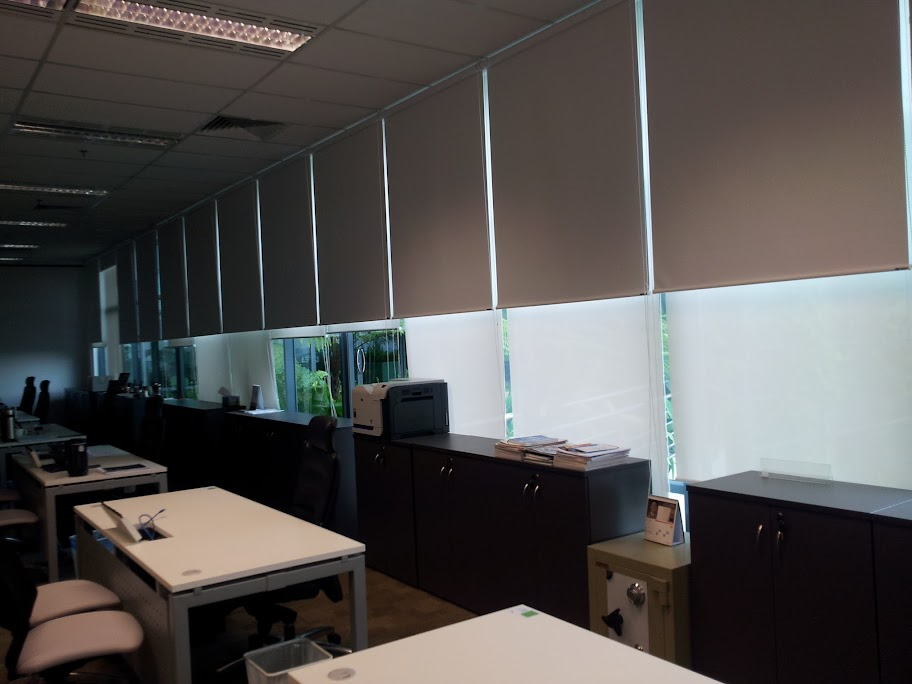 roller blinds in office room