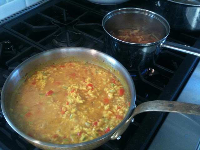 making risotto with squash and red peppers, including a saffron broth