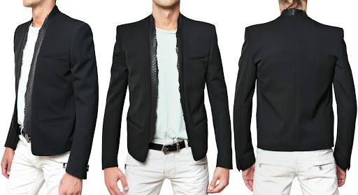 BALMAIN - PYTHON COLLAR WOOL TWILL JACKET