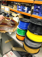 An array of filament for the 3D printers.