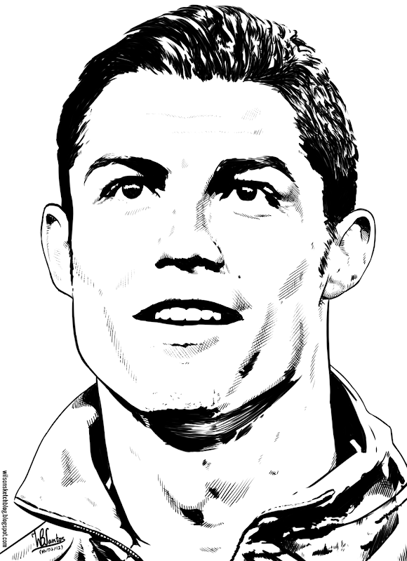 Ink drawing of Cristiano Ronaldo, using Krita 2.4.