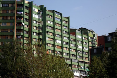 Green apartment block in Pristina Kosovo