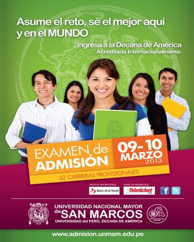 San marcos 2013 fecha examen costos y prospecto