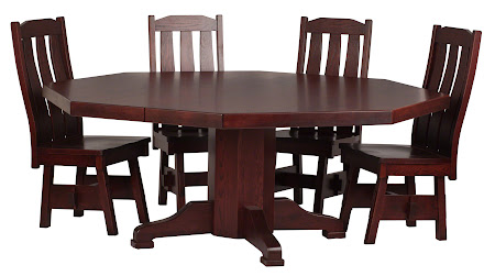 "72"" Diameter, 8 Sided Savoy Table and Savoy Chairs in Cranberry Oak"