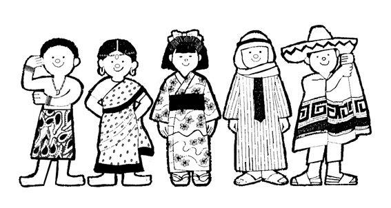 Dibujo De Nacionalidades Para Colorear: Niños De Diferentes Nacionalidades